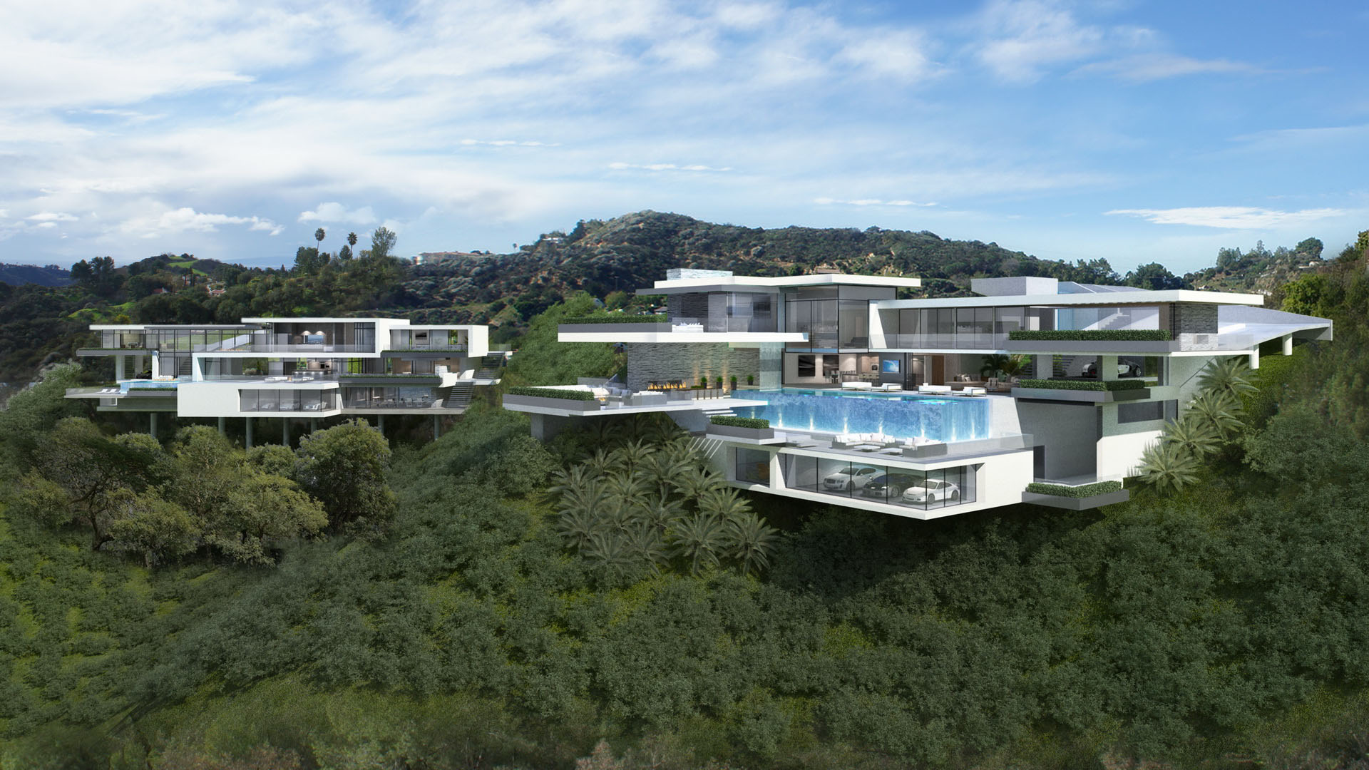Two modern mansions on sunset plaza drive in l a priv for Modern mansion